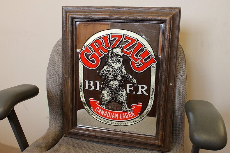 Grizzly beer mirror
