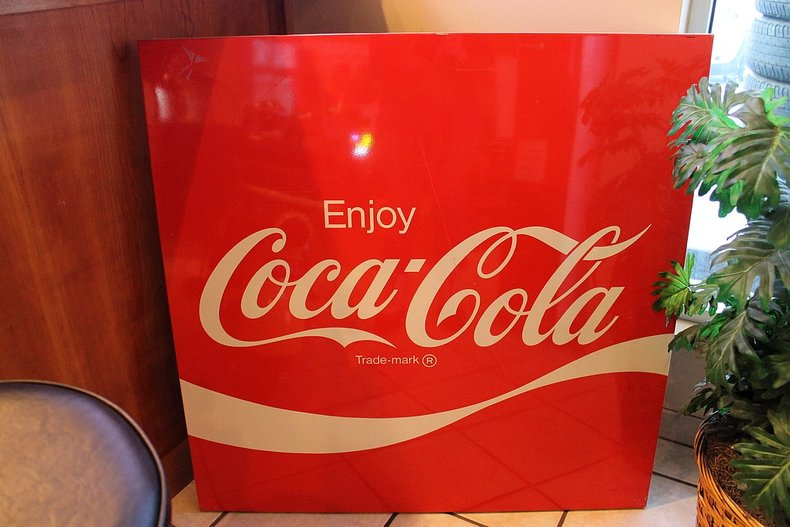 Large metal coca cola sign