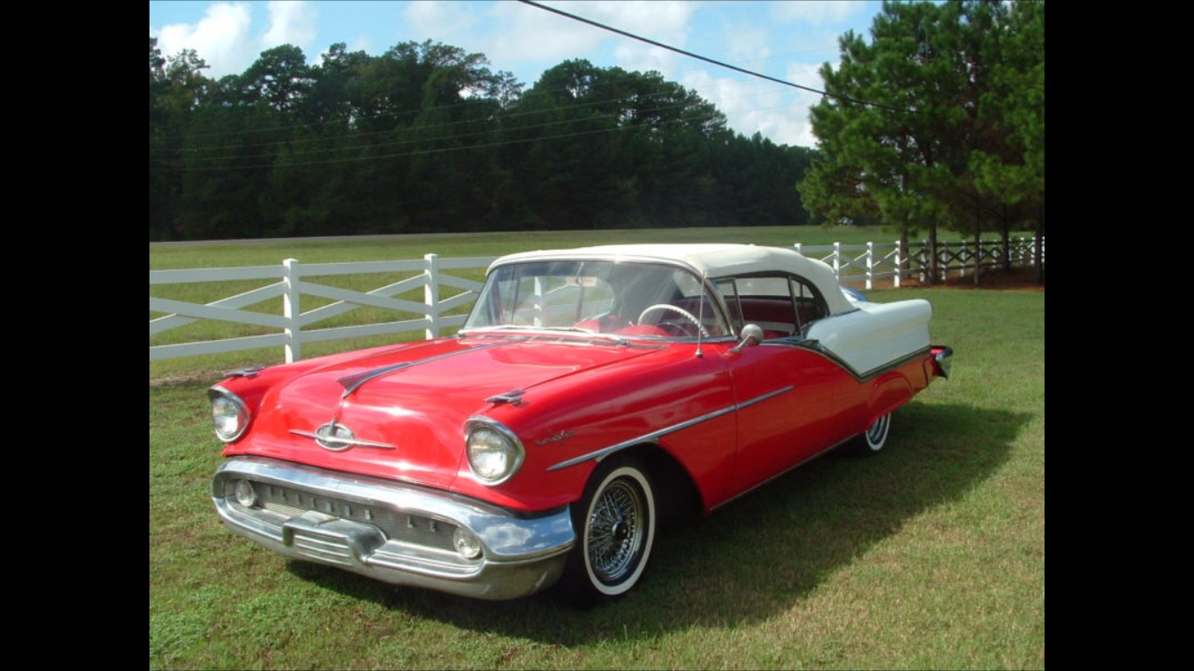 1957 Oldsmobile 98 conv White red int