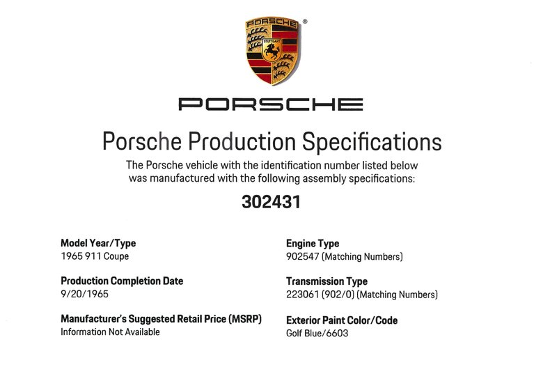 1965 Porsche 911 , GOLF BLUE, VIN 302431, MILEAGE 183