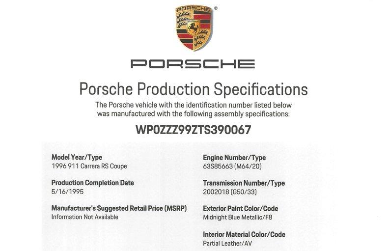 1996 Porsche 911 Carrera RS, MIDNIGHT BLUE, VIN WP0ZZZ99ZTS390067, MILEAGE 20160