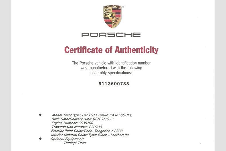 1973 Porsche 911 Carrera RS, TANGERINE, VIN 9113600788, MILEAGE 1477