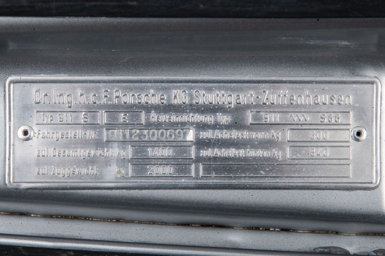 1972 Porsche 911S , SILVER, VIN 9112300697, MILEAGE 53650