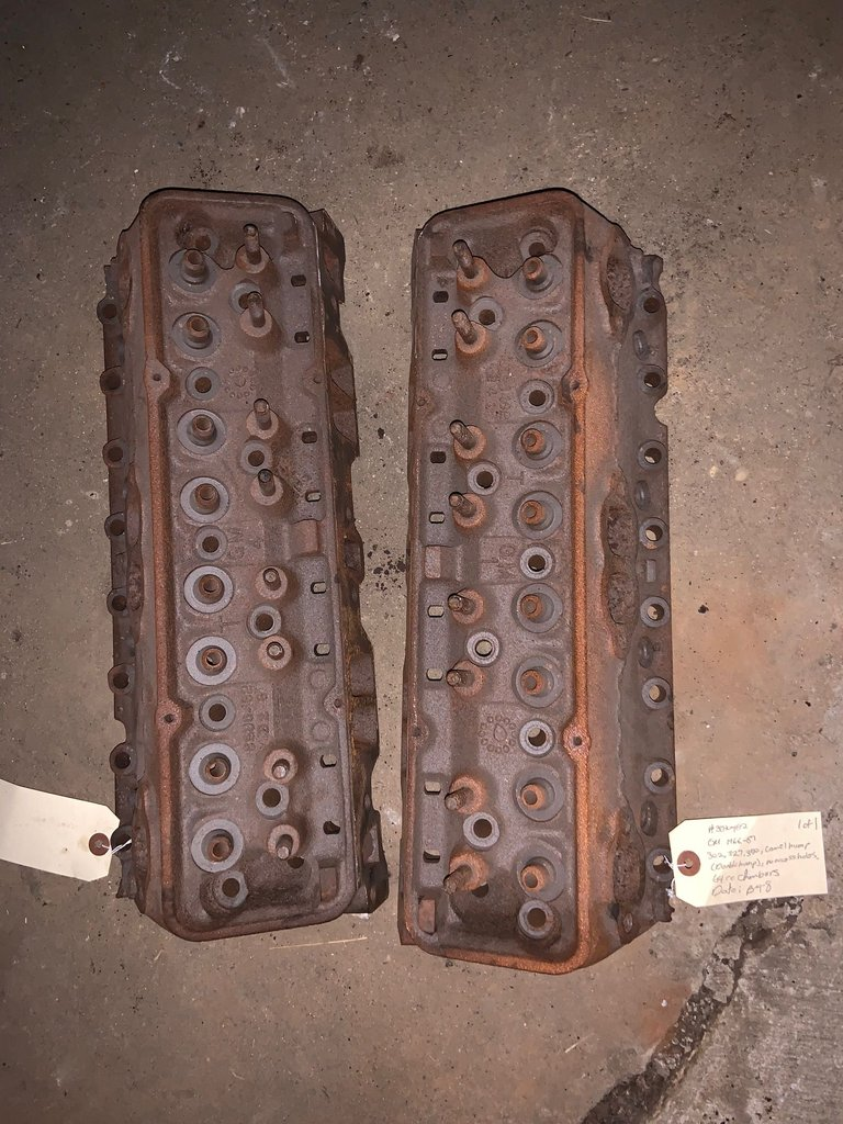 1966-67 302, 350, camel hump, no access holes, 64cc chambers cylinder heads