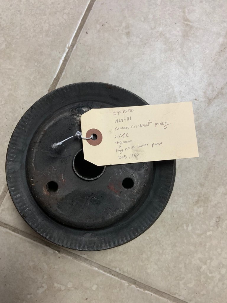 1969-81 camaro crankshaft pulley w/AC, 3-groove, long neck water pump, 305, 350