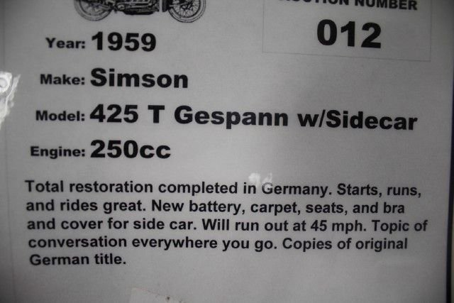 1959 SIMSON 425 T GESPANN