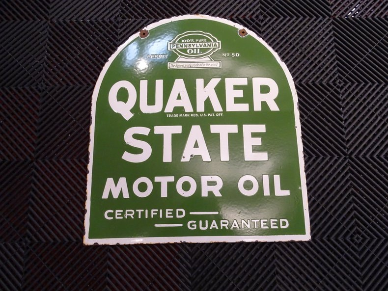 """20x24"""" Porcelain 2-Sided Quaker State Sign"""