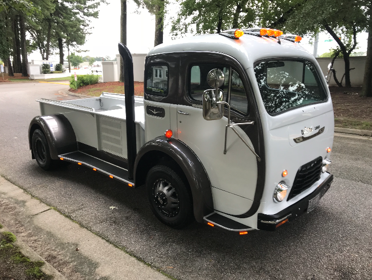 1950 white cab over pick up