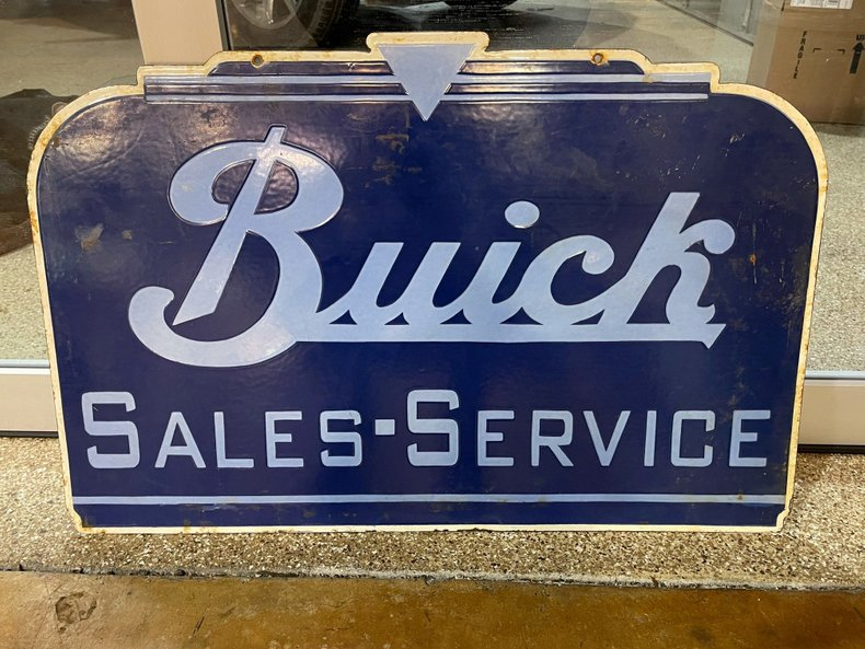 Buick Sales & Service Double Sided Porcelain Sign