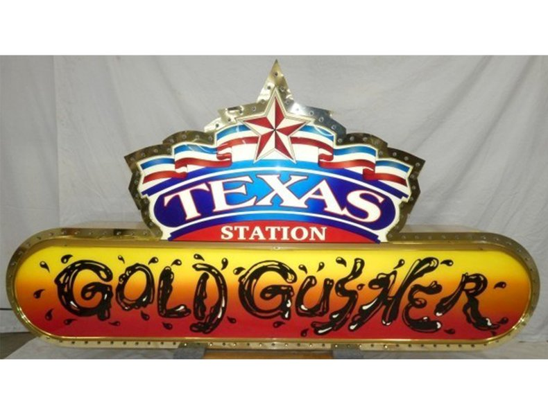 Lighted Texas Station Gold Gusher Sign