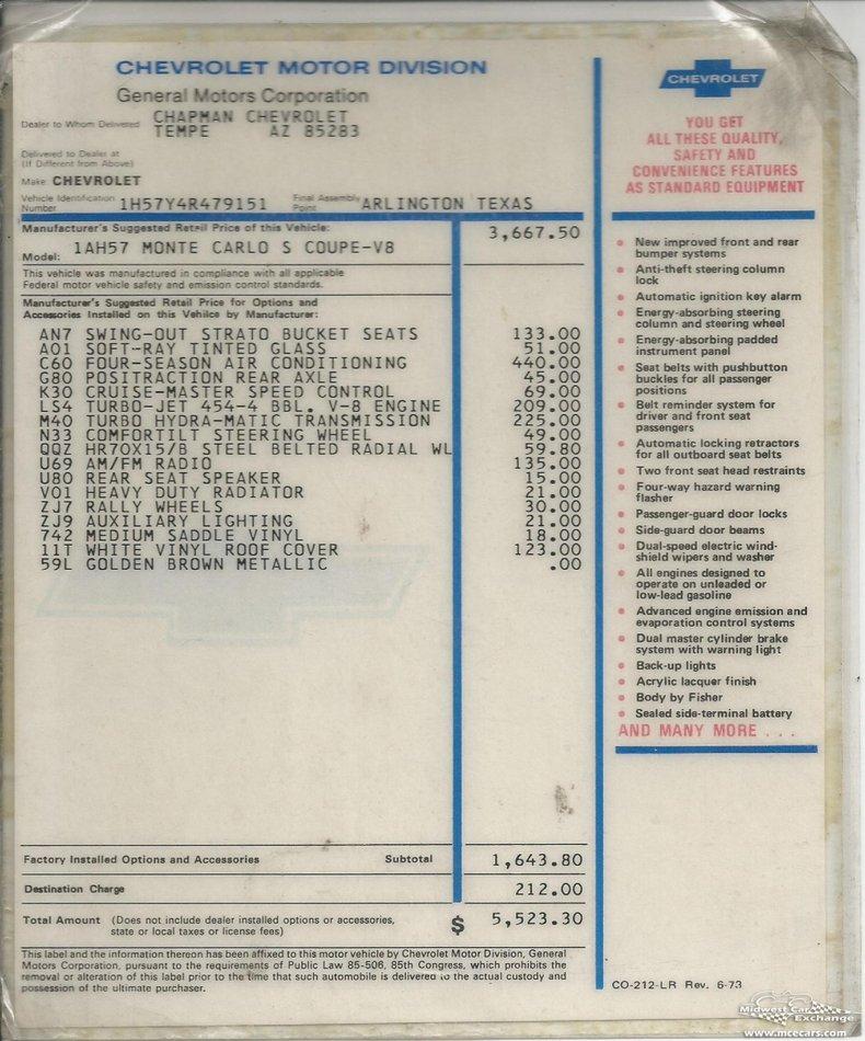 1974 chevrolet monte carlo s