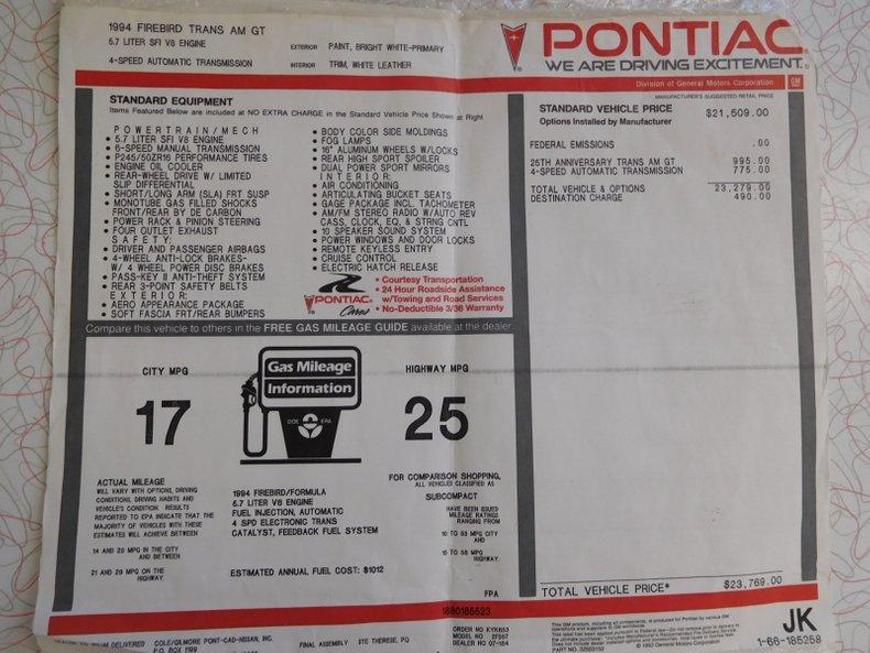 1994 pontiac trans am gt 25th anniversary