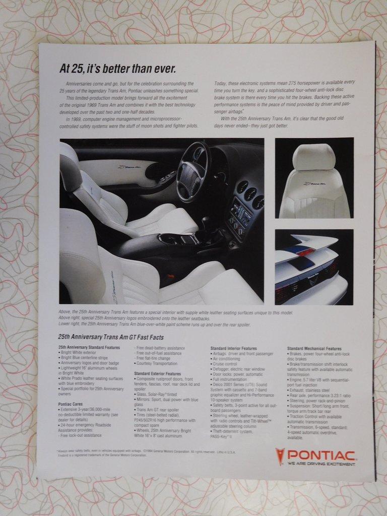 1994 Pontiac Trans Am Midwest Car Exchange Engine Technology Gt 25th Anniversary
