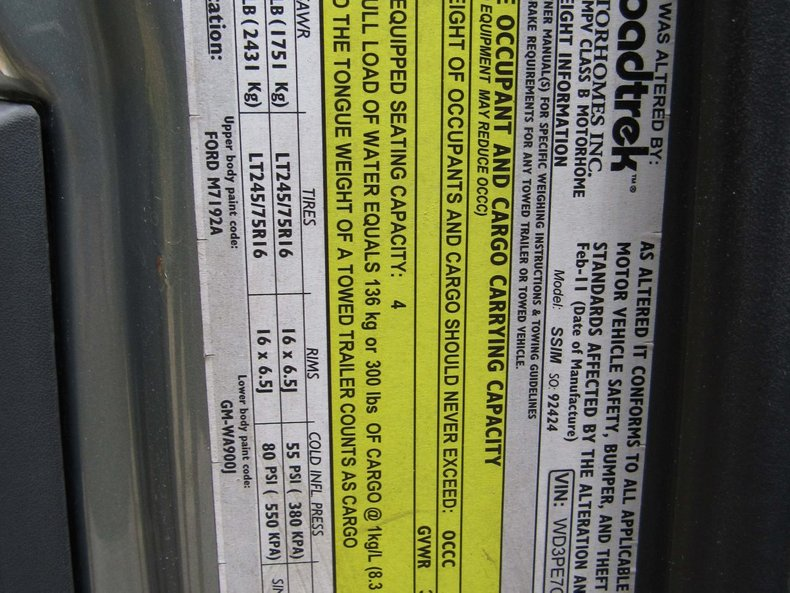 2011 Mercedes Sprinter Roadtrek for sale #133422 | Motorious