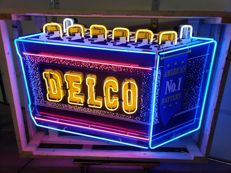 Delco Battery Tin Neon Sign