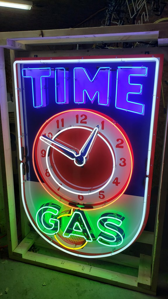 Time Gas Tin Neon Sign