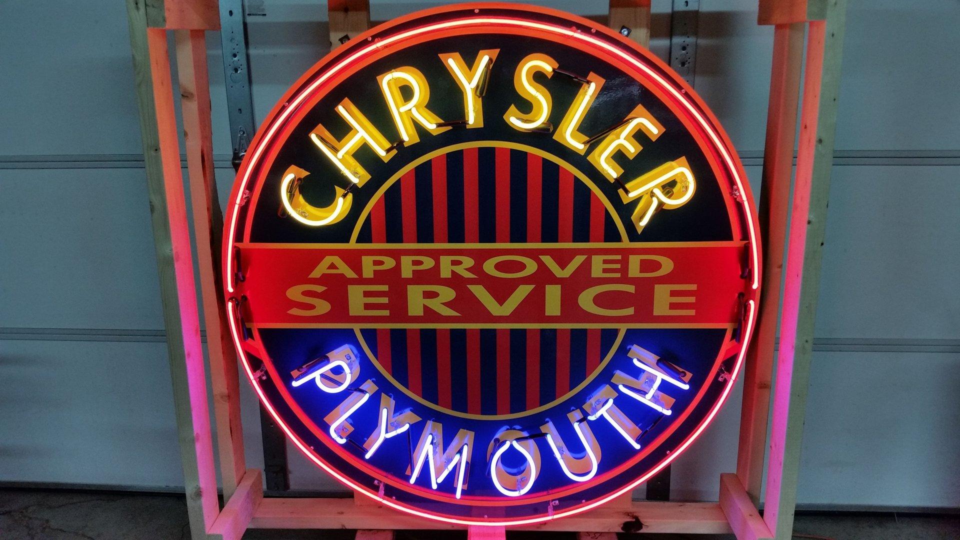 Chrysler plymouth tin neon sign