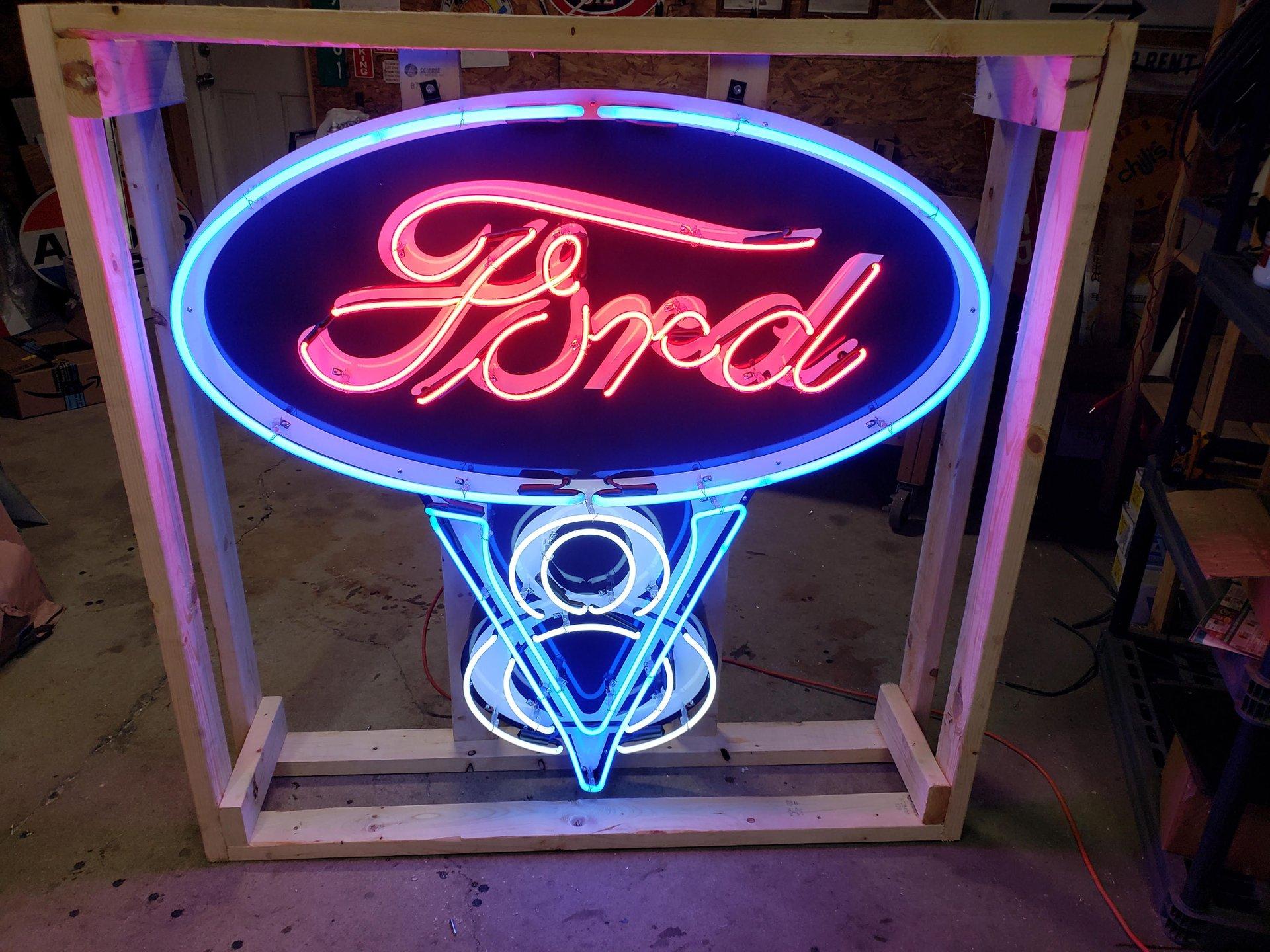 Ford v 8 tin neon sign
