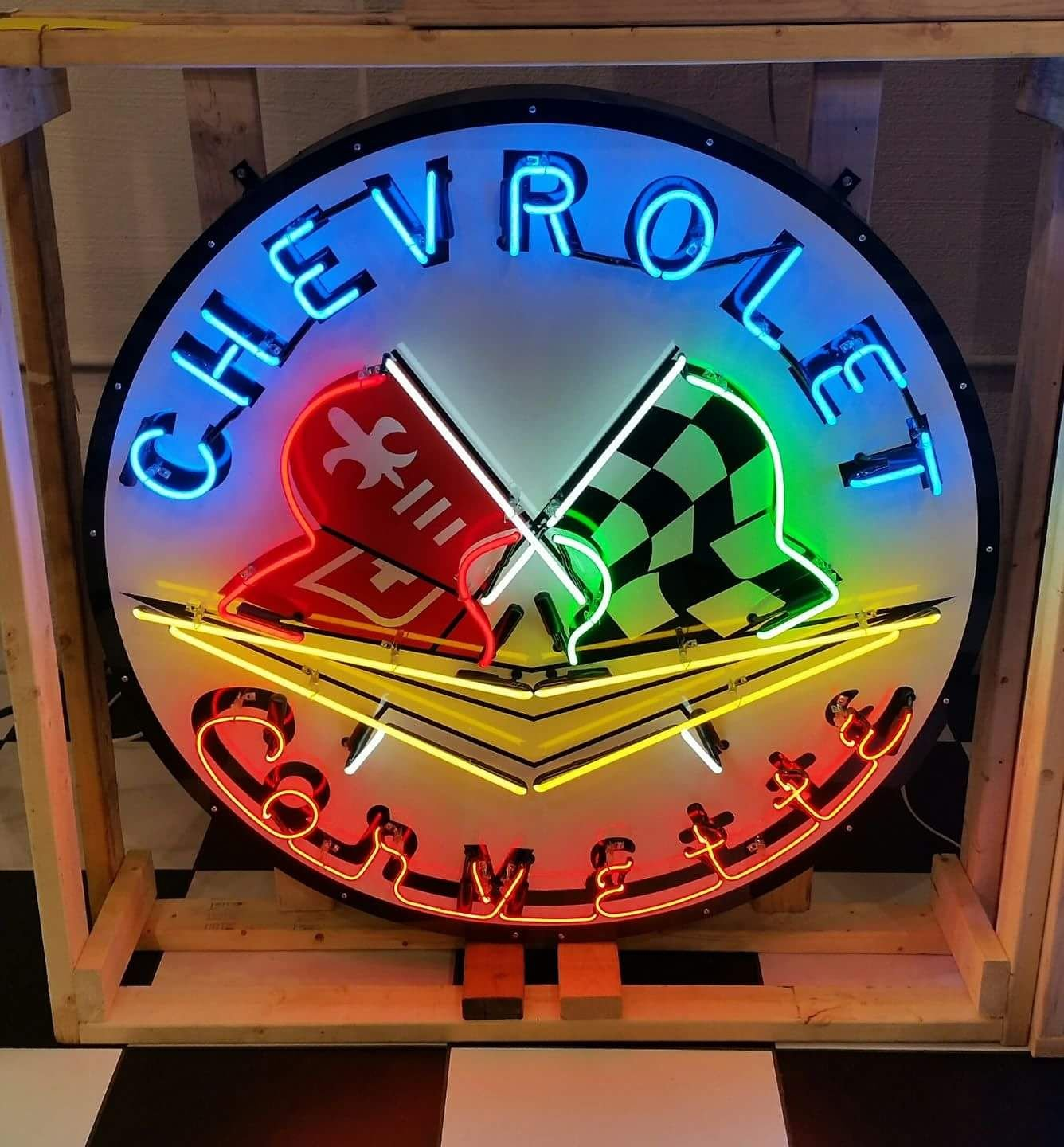 Chevrolet corvette tin neon sign