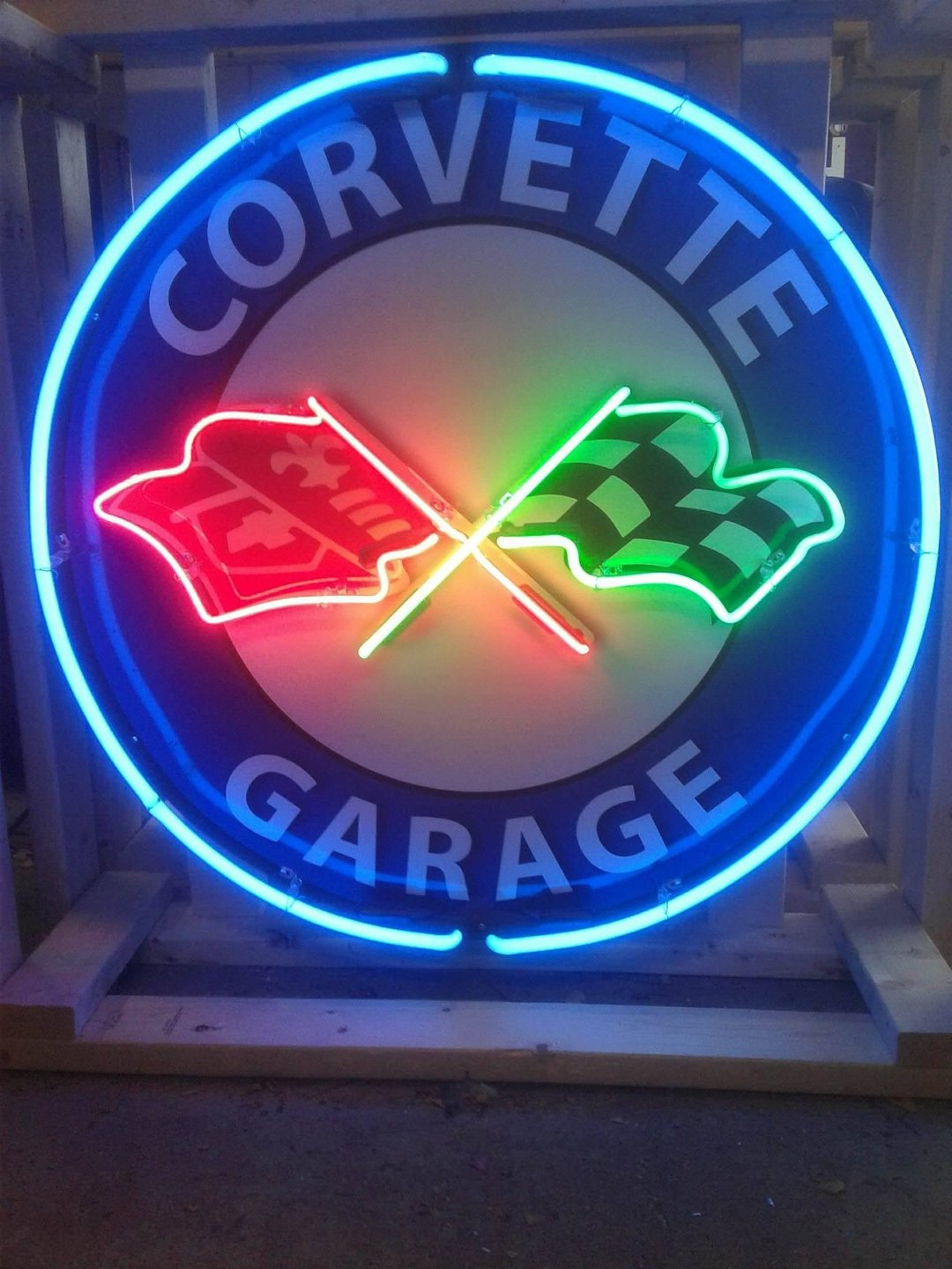 Corvette garage tin neon sign