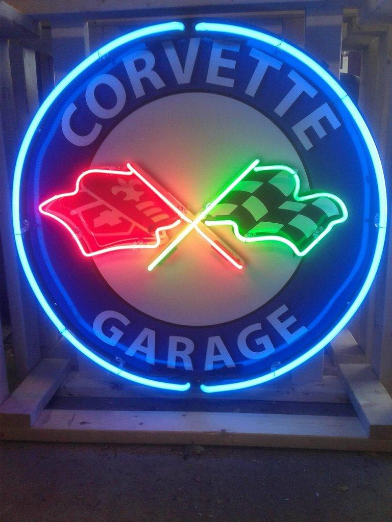 Corvette Garage Tin Neon Sign