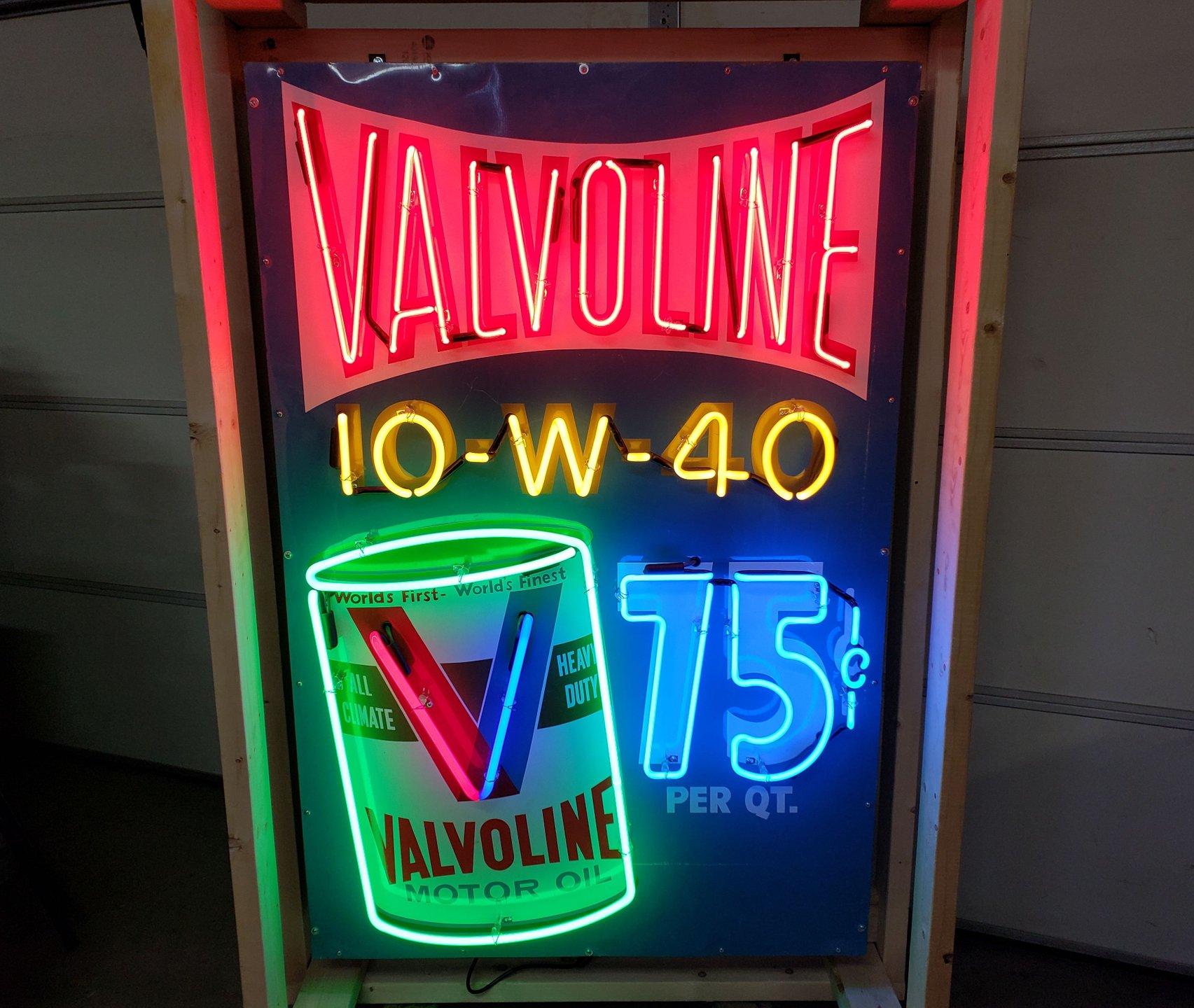 Valvoline tin neon sign