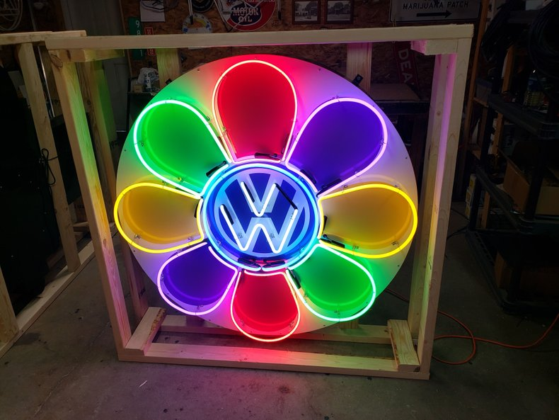 Volkswagen Flower Tin Neon Sign