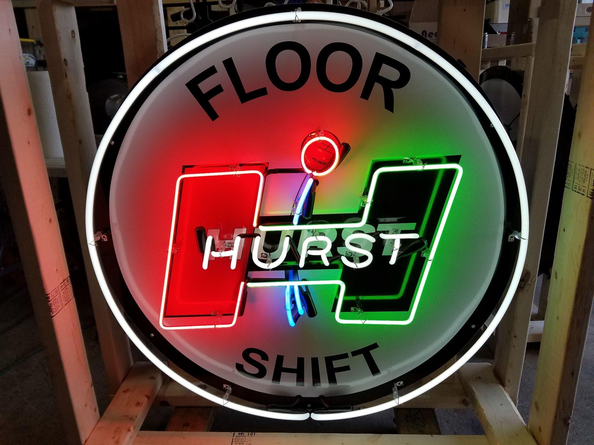 Hurst floor shift tin neon sign