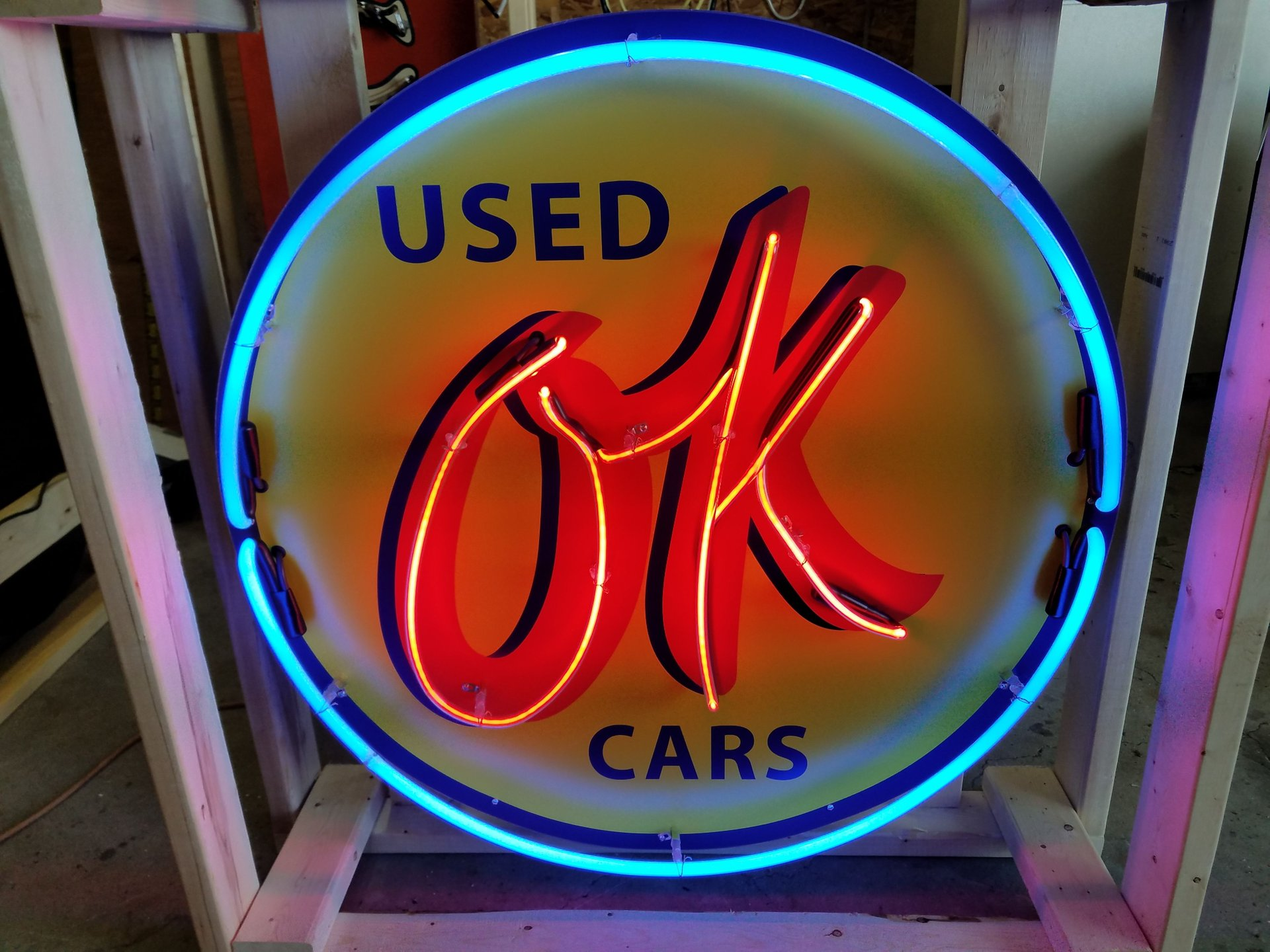 Ok used cars tin neon sign
