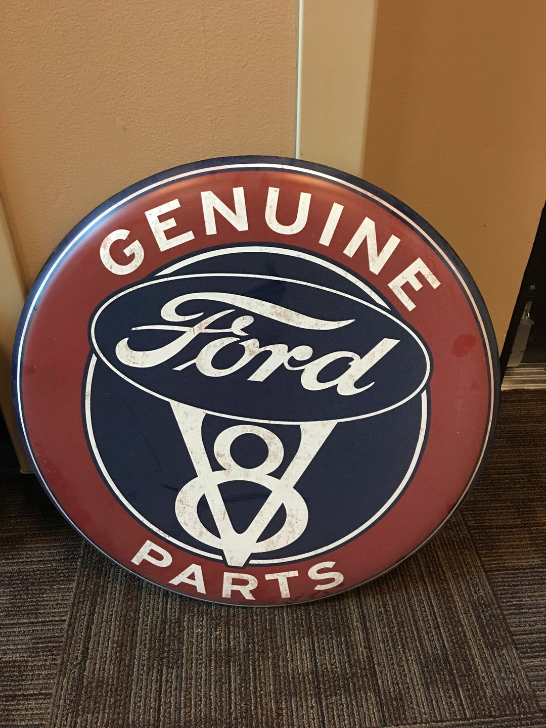 Genuine ford v8 parts button sign