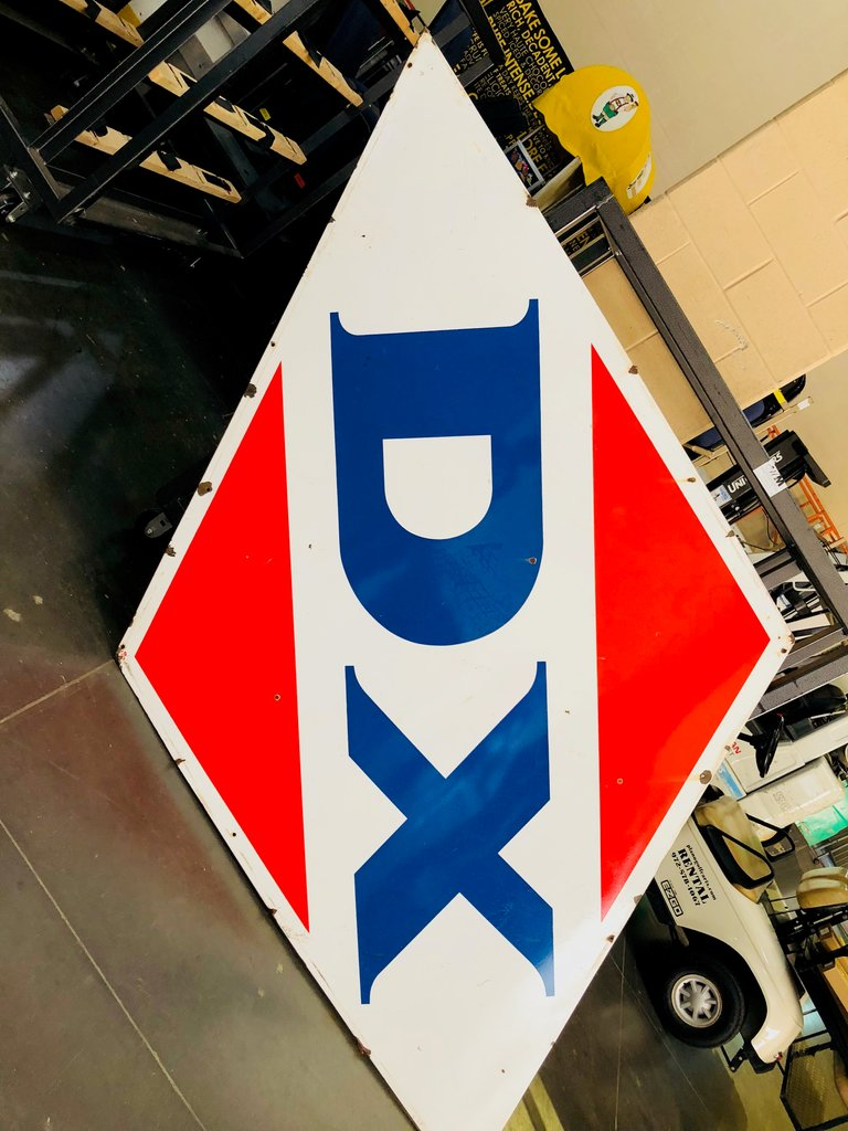 1962 Porcelain DX Sign, Original