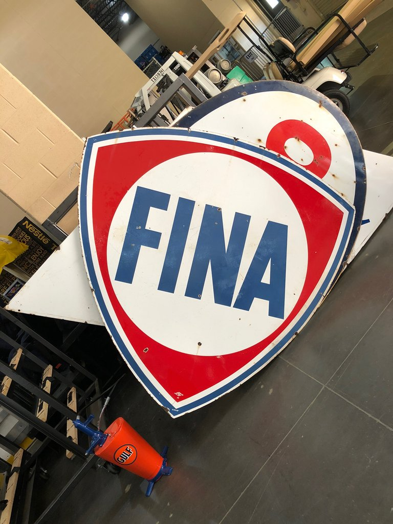 1958 Fina One-Sided Sign, Original