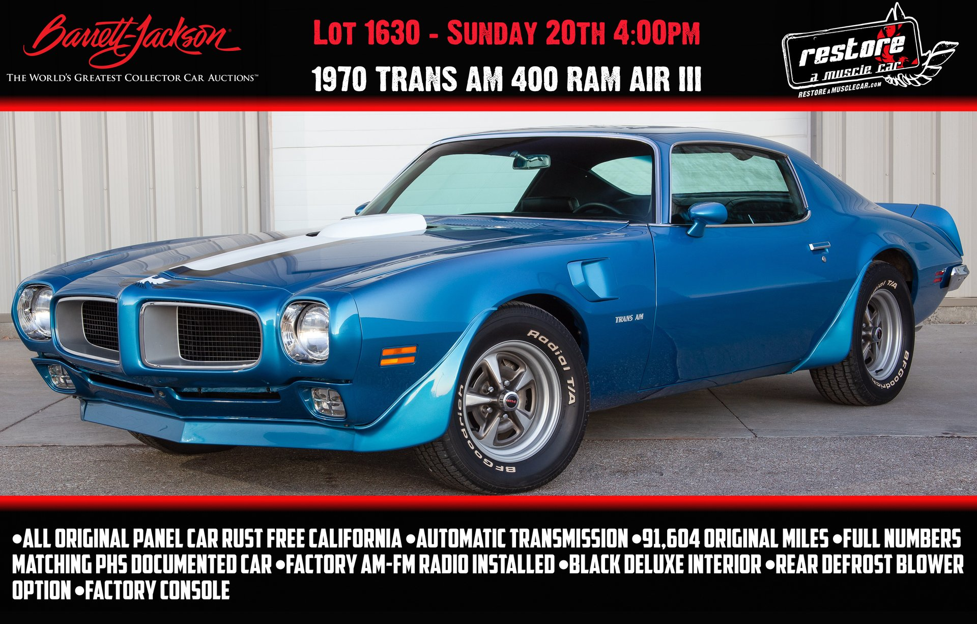 1970 pontiac trans am ram air iii