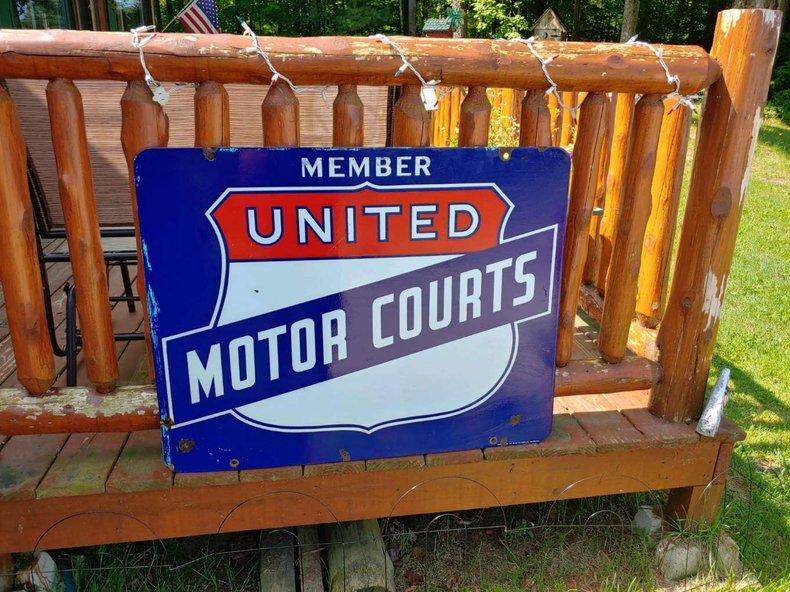 United Motor Courts Porcelain Sign