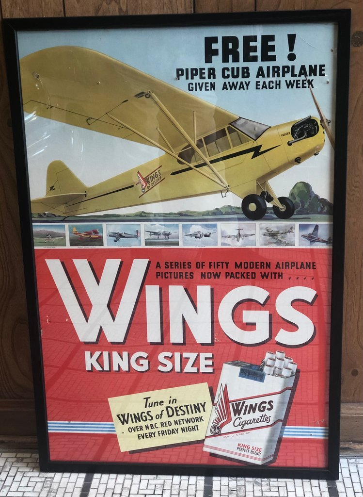 1940 Wings King Size Cigarettes Win With Piper Club Airplane