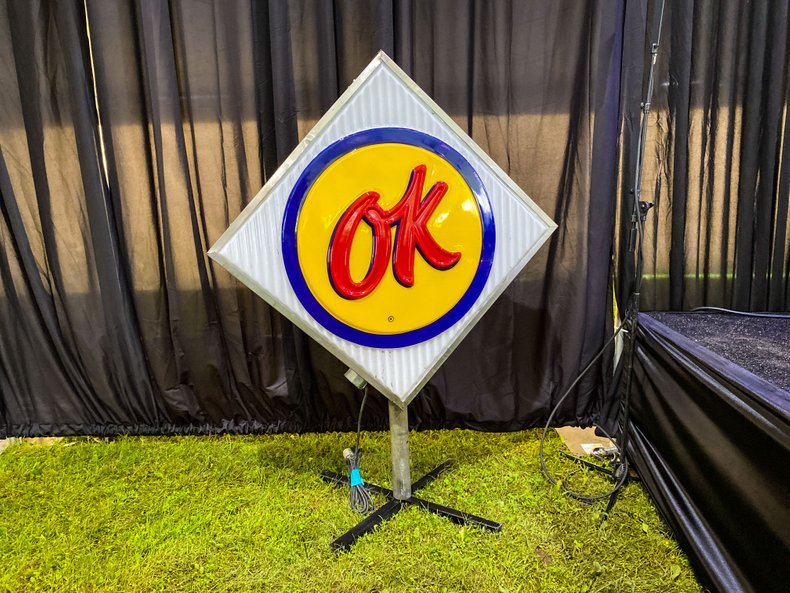 1960 Original OK Chevrolet Lighted Pole Sign Double Sided