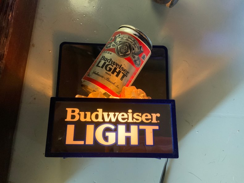CLASSIC BUD LIGHT BEER CAN ON ICE BAR LIGHT