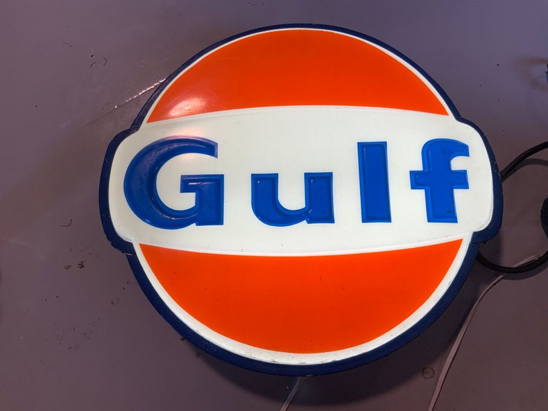 ORIGINAL LIGHTED GULF STATION SIGN