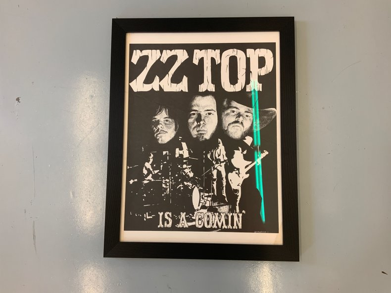 1973 original ZZ Top poster custom framed