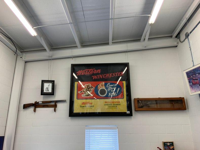 Original 30's Winchester shooting gallery display sign custom framed