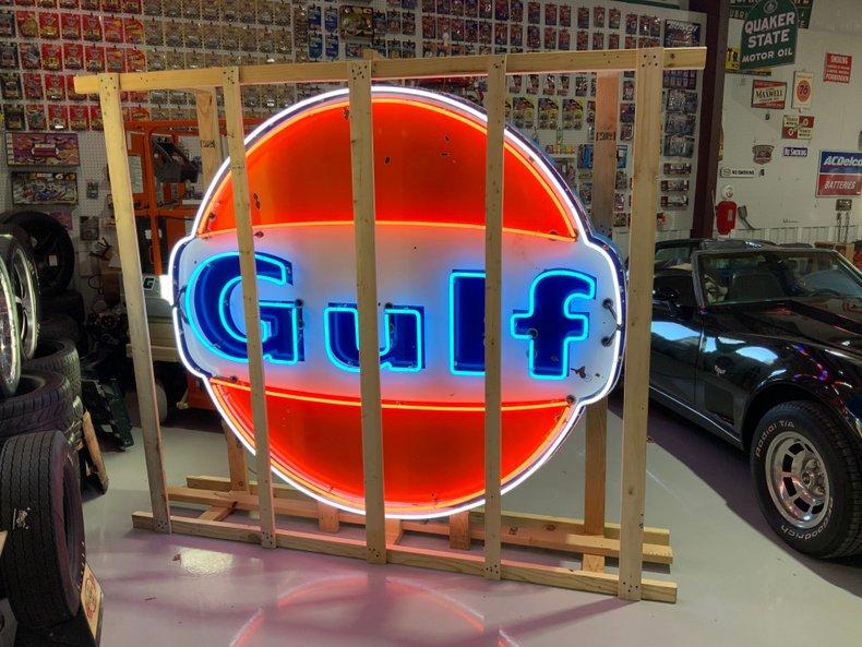 Original 6 foot Gulf sign restored neon