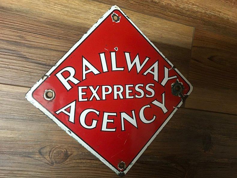 Original Porcelain Railway Express Agency sign