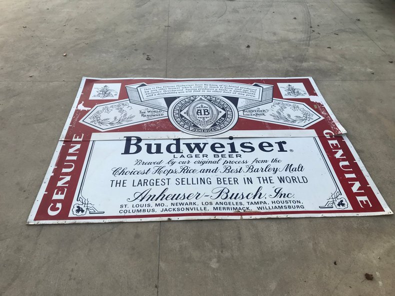 HUGE Budweiser sign approximately 9 foot wide
