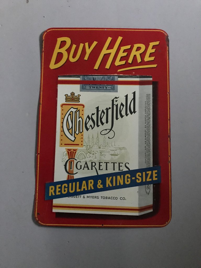 Original Chesterfield cigarettes sign