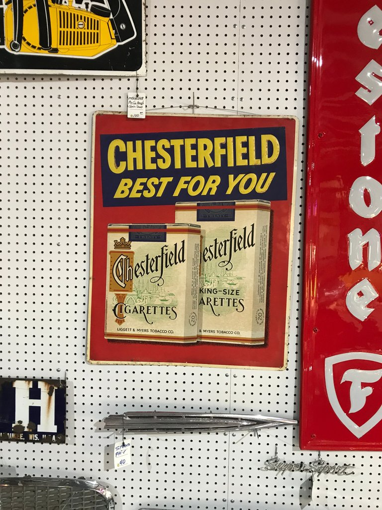 Large 23 X 29 Chesterfield cigarette sign