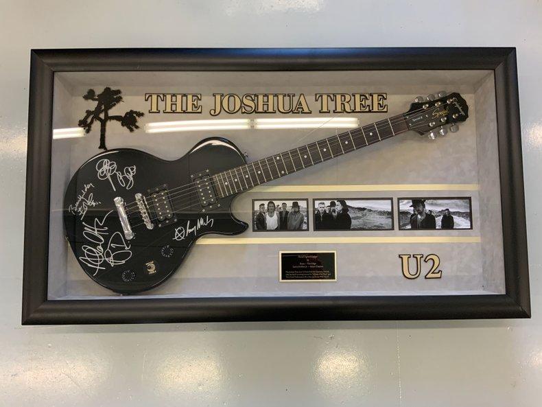 U2 Band signed guitar display with C O A