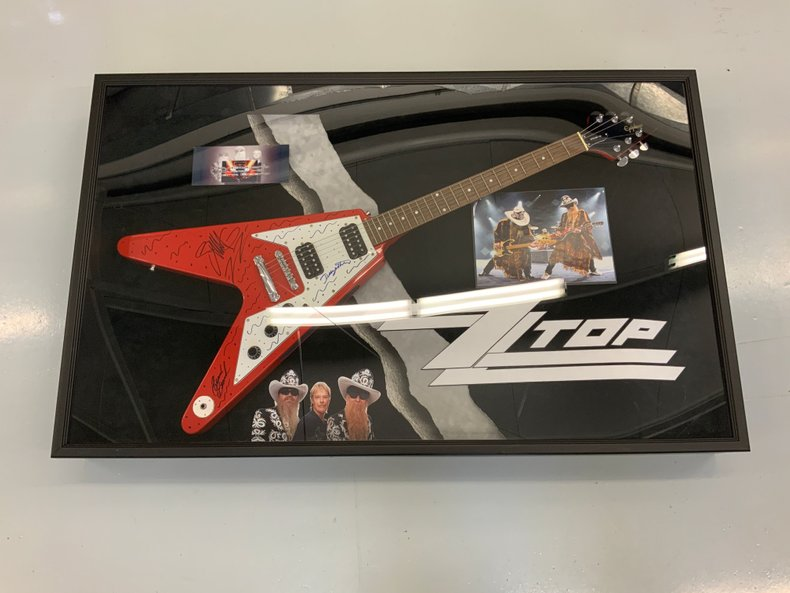 "ZZ Top Autographed ""Flying V"" Guitar Display C.O.A."