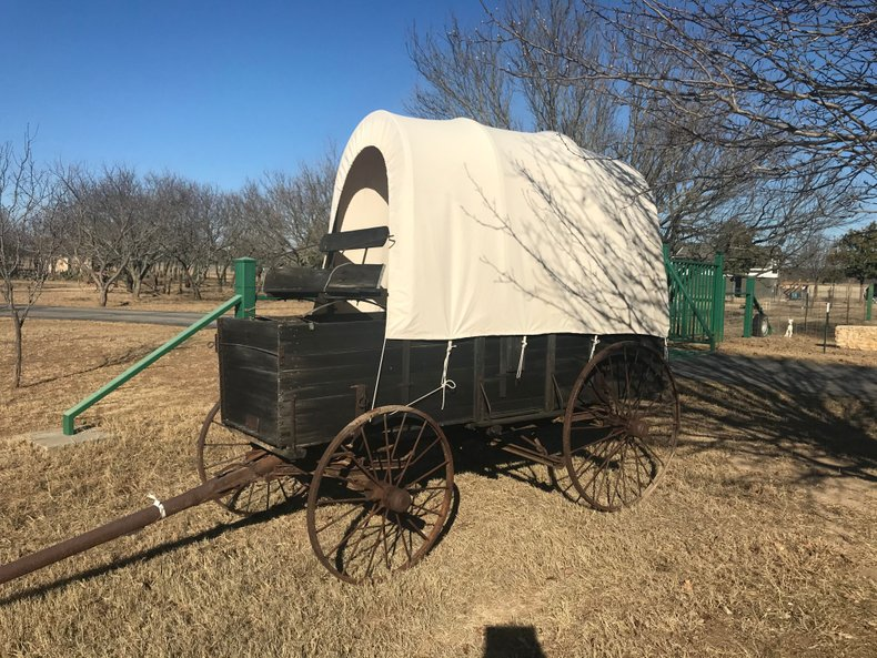 Antique covered wagon new cotton top