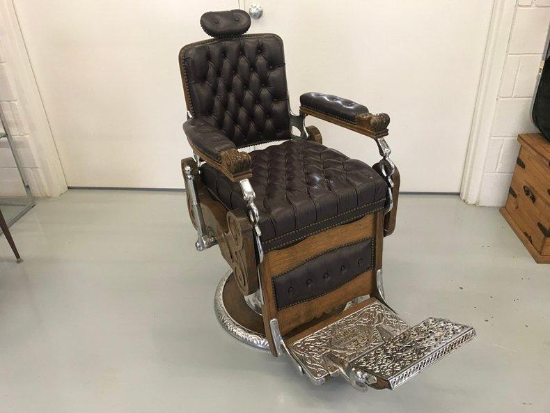 Early 1900's Koken Barber Chair older restoration working