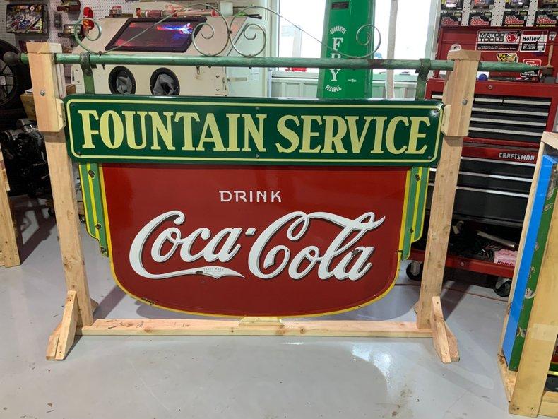 1935 Original Coke fountain porcelain sign and framework